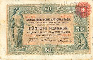 Banknotes of the Swiss franc - Image: CHF50 1 front horizontal