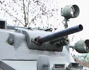 Weapon mount - Turret of a Panhard AML-60 armoured car, which incorporates co-axial weapon mounts for machine guns and a 60mm mortar.