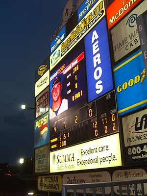 Canal Park (Akron, Ohio) - Former scoreboard display at Canal Park before installation of the new HD videoboard in 2013.
