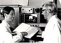 CSIRO ScienceImage 11339 Prof Tao and Bob Blagrove discussing results of experiments on Spinco model E ultracentrifuge.jpg