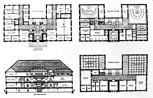 Cambridge, Massachusetts City Hall - Elevation and floor plans.