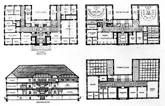 Cambridge, Massachusetts City Hall - Elevation and floor plans.