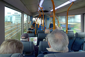 Cambridgeshire Guided Busway - Interior of a single-decker Cambridgeshire Guided Busway route A bus approaching Addenbrooke's Hospital.