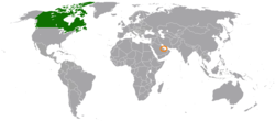 Map indicating locations of Canada and Qatar