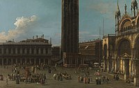 Canaletto (Venice 1697-Venice 1768) - The Piazza from the Piazzetta with the Campanile and the South Side of San Marco - RCIN 400516 - Royal Collection.jpg