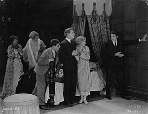 The Cat and the Canary (1927 film) - Cast of the film (from the left): Flora Finch, Gertrude Astor, Creighton Hale, Forrest Stanley, Laura La Plante, and Arthur Edmund Carewe