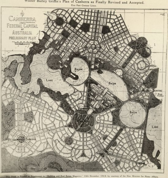 Canberra Prelim Plan by WB Griffin 1913