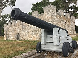 Cannon outside magazine at Frederica National Monument.jpg