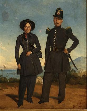 Catholic youth sports associations of French Algeria - Painting by Edouard Moreau (1825–1878): a female soldier of the French army standing beside a member of the infantry in Algeria, 1845.