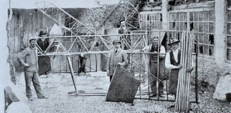 Caproni Ca.1 (1910) - An early phase of the construction of the Caproni Ca.1 in Arco, Italy, late 1909 or early 1910.