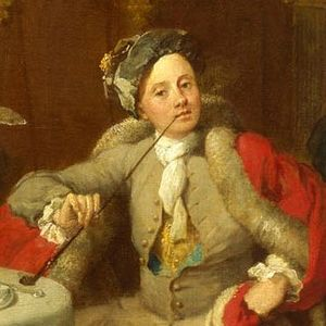 Captain Lord George Graham in his Cabin - The subject of the portrait, Captain Lord George Graham, leans against the table, holding a pipe