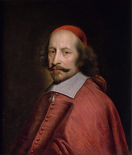 Cardinal Mazarin (depicted here in 1660, age 58) succeeded Richelieu in office. Cardinal Mazarin by Pierre Mignard (Musee Conde).jpg