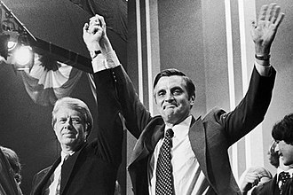 1984 United States presidential election - Mondale celebrates several victories in March 13 primaries with former running mate Jimmy Carter at his campaign headquarters.