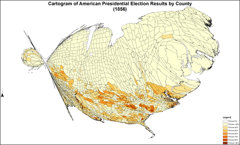 CartogramAmericanPresidentialCounty1856Colorbrewer