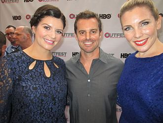 June Diane Raphael - Raphael (right) and Casey Wilson (left) with Ass Backwards director Chris Nelson at the 2013 Outfest film festival.