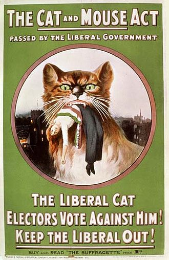 "George Lansbury - WSPU poster from 1914, denouncing the Liberal government's controversial ""Cat and Mouse Act"""