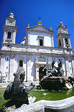 Caltanissetta Cathedral and the Triton Fountain, located in Piazza Garibaldi, the city's central square