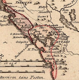 Venetian Albania - Map of the Bay of Kotor (1789).