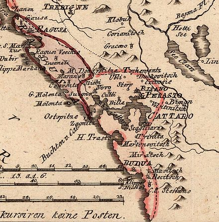 Map of the Bay of Kotor (1789). Cattaro Ragusa von Reilly 1789.jpg