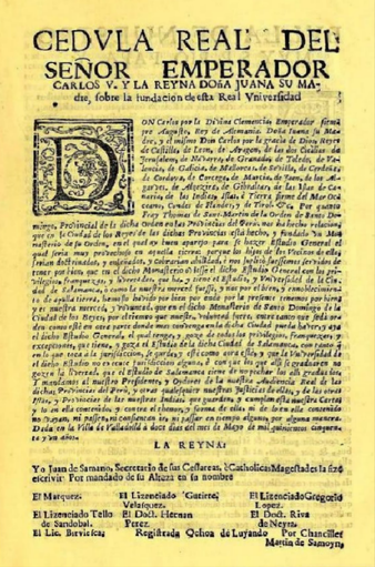 Privilege by Charles V granting the establishment of the University of San Marcos in Lima (1551), the first officially established and the longest continuously operating university in the Americas. Cedula Real 1551 Universidad de San Marcos.png