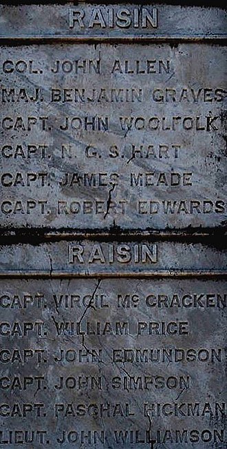 Nathaniel G. S. Hart - Names of some of the American officers who died at the Raisin Massacre or afterward, listed on one panel of the Kentucky War Memorial in Frankfort Cemetery in Frankfort, Kentucky