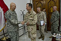 Chairman of the Joint Chiefs of Staff Navy Adm. Mike Mullen, right, congratulates Army Gen. Raymond T. Odierno, commander of U.S. Forces-Iraq (USF-I), at an award ceremony honoring the general before a USF-I 100901-N-TT977-051.jpg