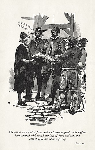 Preston Somers Expedition - Frontispiece of Westward Ho! novel from an 1899 edition showing the English in discussion during the raid on Caracas