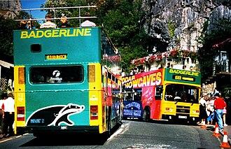 Badgerline - Badgerline buses in Cheddar in 1995, showing First Bus branding on the rear window.