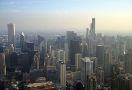 Chicago, the largest city in Illinois and the Midwest, as viewed from the John Hancock Center