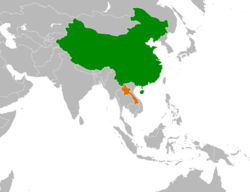 Map indicating locations of China and Laos