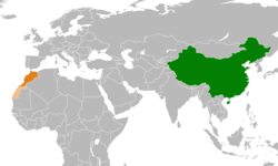 Map indicating locations of China and Morocco