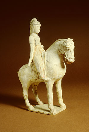 Earthenware - Image: Chinese Pair of Sculptures Women on Horseback Walters 492329