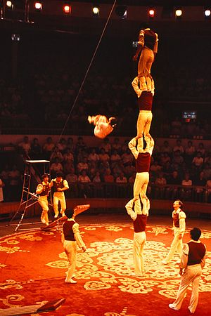 Acrobatics - Chinese acrobat in midair after being propelled off a springboard, China, 1987