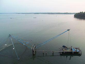 Chavara Thekkumbhagom - Chinese fishing net located in Ashtamudi lake at Chavara Thekkumbhagom