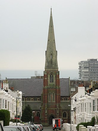 Montpelier, Brighton - Many of the north–south streets offer long views.  From the top of Victoria Street, St Mary Magdalen's Church and the English Channel are visible.