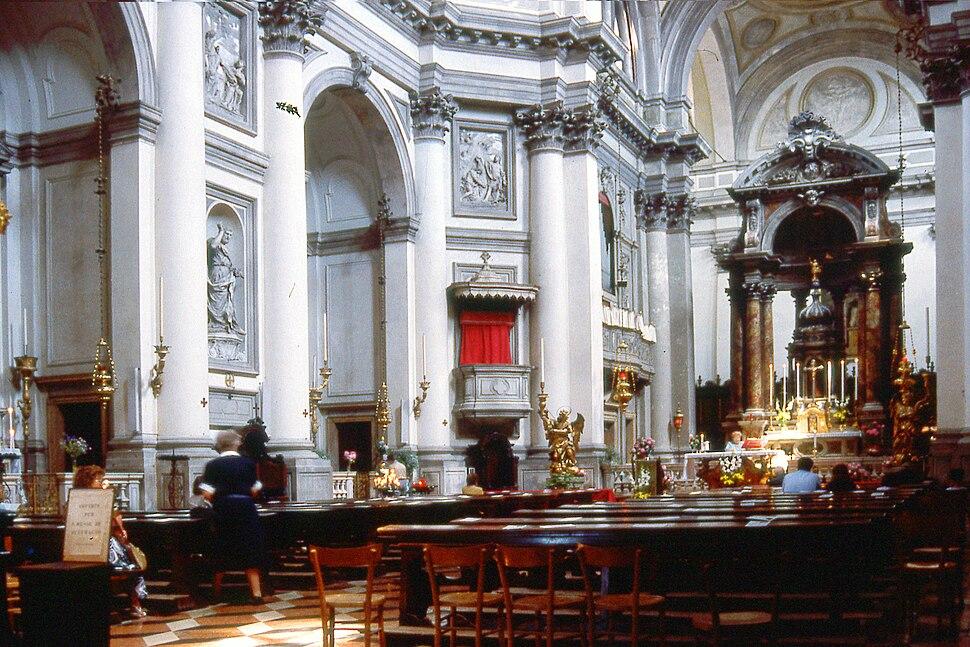 Church of I Gesuati on the Zattere in Venice. Interior. Architect- Giorgio Massari. Photo taken June 1988