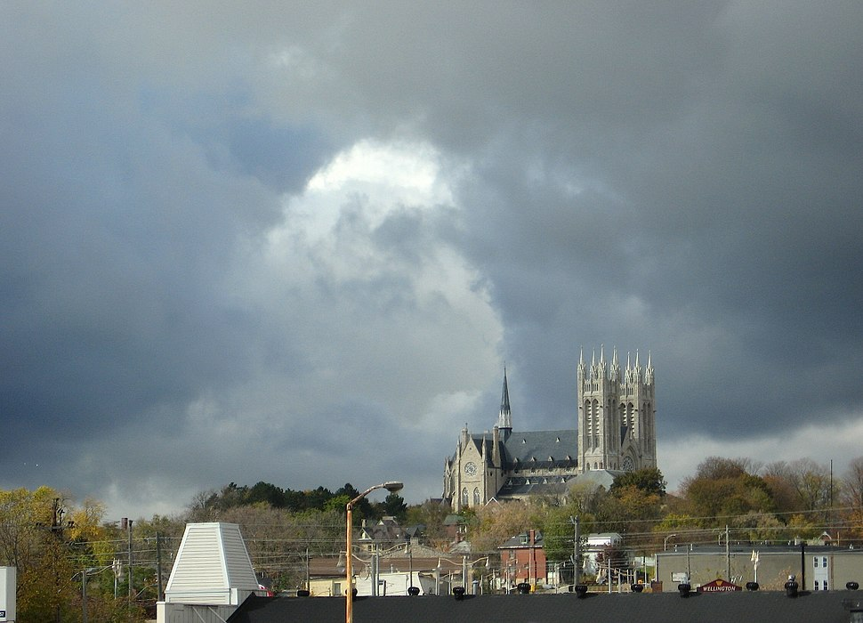 Church of Our Lady, Guelph, Ontario, from rivers confluence
