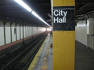 City Hall; BMT Broadway Station (Yellow Pylon).jpg