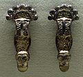 Cividale, necropoli san giovanni, tomba 154, coppia di fibule a staffa in bronzo, 550-600 ca.jpg