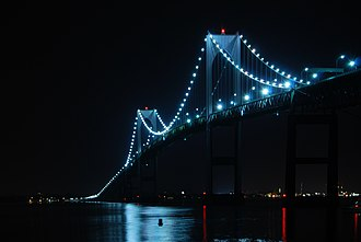Claiborne Pell Newport Bridge - Image: Claiborne Pell Newport Bridge Night