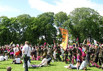 Tactical frivolity - The Clandestine Insurgent Rebel Clown Army were prominent practitioners of tactical frivolity, shown here at the 2005 Make Poverty History march in Scotland