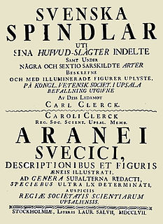<i>Svenska Spindlar</i> book by Carl Alexander Clerck