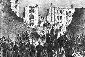 Clerkenwell explosion - The House of Detention in Clerkenwell after the bombing; seen from within the prison yard