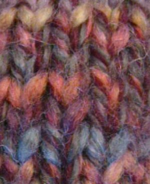 Knitting - Multi-colored knitwork made in stockinette stitch.