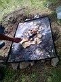 Cociendo tortillas y hongos recién cortados en el bosque de Nanacamilpa, Tlaxcala 02.jpg