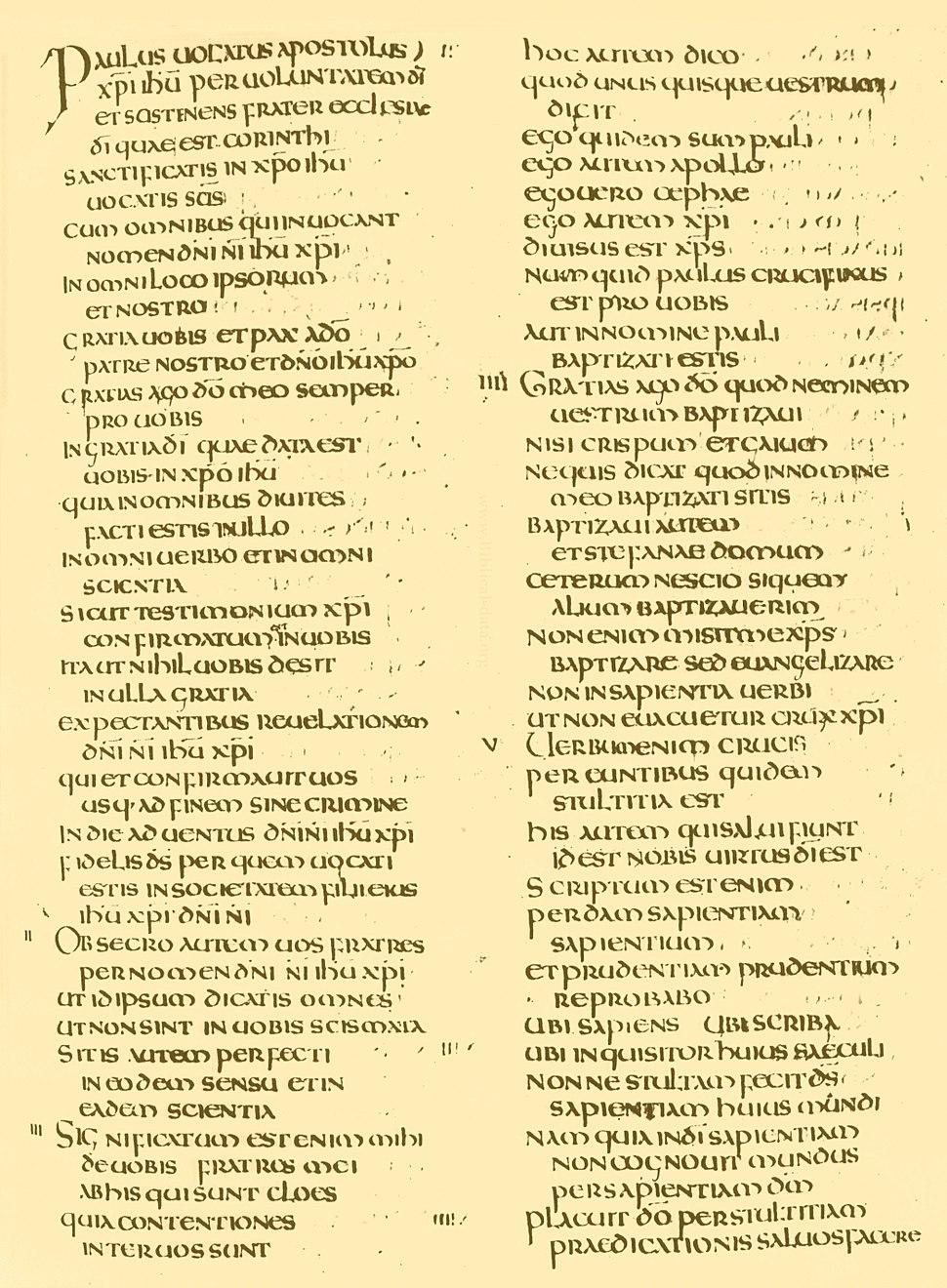 1 Korintiërs 1:1-21 in het Latijn op de Codex Amiatinus, in de 8e eeuw gekopieerd in Wearmouth-Jarrow Abbey.