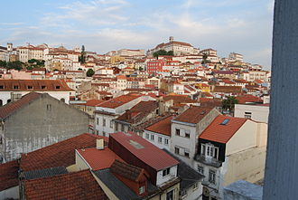 Coimbra - The familiar urban landscape of the Baixa (Downtown), showing the distinctive hill of the Almedina and Sé Nova that became University Hill, seen from the Santo António dos Olivais