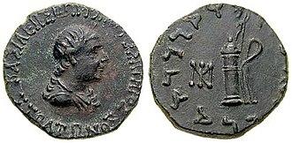 Agathokleia - Coin of Agathokleia. Obv: Queen Agathokleia in profile. Rev:: Greek straight bow and arrow container.