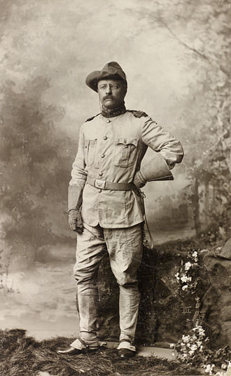 Rough Riders - Colonel Theodore Roosevelt in his Rough Riders uniform on October 26, 1898, by Rockwood.