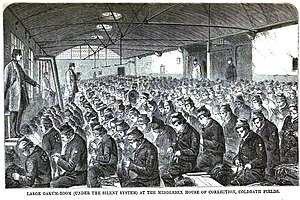 Penal labour - Image: Coldbath fields oakum room mayhew p 301